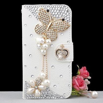 Butterfly bling iPhone 7 Plus leath..