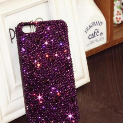 Purple Bling iPhone 6 case, iPhone 6 Plus case, iPhone 5s case, iPhone 5 case, bling wallet case for samsung galaxy note 4 note 4 edge s6 s6 edge s5 s4 s3