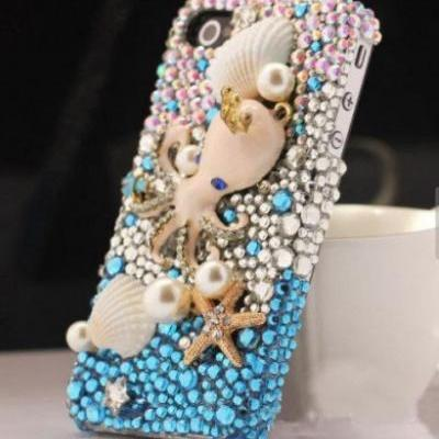 IPhone 6 Case, IPhone 6 Plus Case, IPhone 5s Case, IPhone 4s Case, Bling Wallet Case For Samsung Galaxy Note 4 Note 4 Edge S6 S6 Edge S5 S4 S3, Ocean Pearl bling phone case