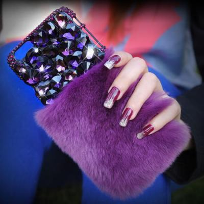 IPhone 6 Case, IPhone 6 Plus Case, IPhone 5s Case, IPhone 4s Case, Bling Wallet Case For Samsung Galaxy Note 4 Note 4 Edge S6 S6 Edge S5 S4 S3, Bling Luxury Lovely Fluffy Fur Purple Crystals Phone Case