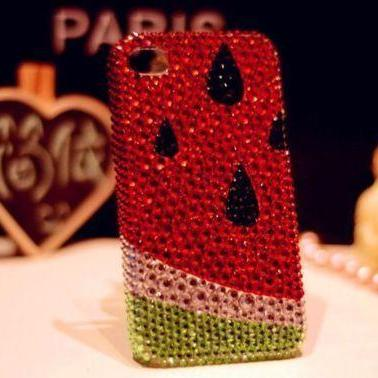 IPhone 6 Case, IPhone 6 Plus Case, IPhone 5s Case, IPhone 4s Case, Bling Wallet Case For Samsung Galaxy Note 4 Note 4 Edge S6 S6 Edge S5 S4 S3, Watermelon crystal bling phone case