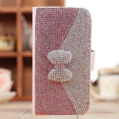 Bowknot Bling iPhone 7 Plus leather wallet case, iPhone 6 6s Plus leather case, iPhone 5s SE leather wallet case, iPhone 5 5c leather cover, bling wallet case for samsung galaxy note 5 note 4 s7 edge s6 edge s5