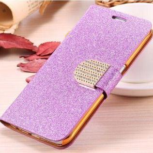 Purple bling iPhone 7 Plus leather wallet case, iPhone 6 6s Plus leather case, iPhone 5s SE leather wallet case, iPhone 5 5c leather cover, bling wallet case for samsung galaxy note 5 note 4 s7 edge s6 edge s5