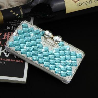 Bowknot light blue iPhone 7 Plus leather wallet case, iPhone 6 6s Plus leather case, iPhone 5s SE leather wallet case, iPhone 5 5c leather cover, bling wallet case for samsung galaxy note 5 note 4 s7 edge s6 edge s5