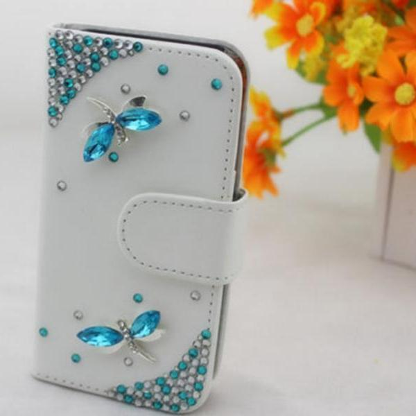 Dragonfly Bling iPhone 7 Plus leather wallet case, iPhone 6 6s Plus leather case, iPhone 5s SE leather wallet case, iPhone 5 5c leather cover, bling wallet case for samsung galaxy note 5 note 4 s7 edge s6 edge s5