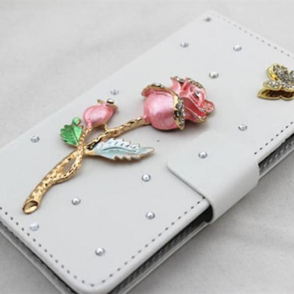 Rose bling iPhone 7 Plus leather wallet case, iPhone 6 6s Plus leather case, iPhone 5s SE leather wallet case, iPhone 5 5c leather cover, bling wallet case for samsung galaxy note 5 note 4 s7 edge s6 edge s5